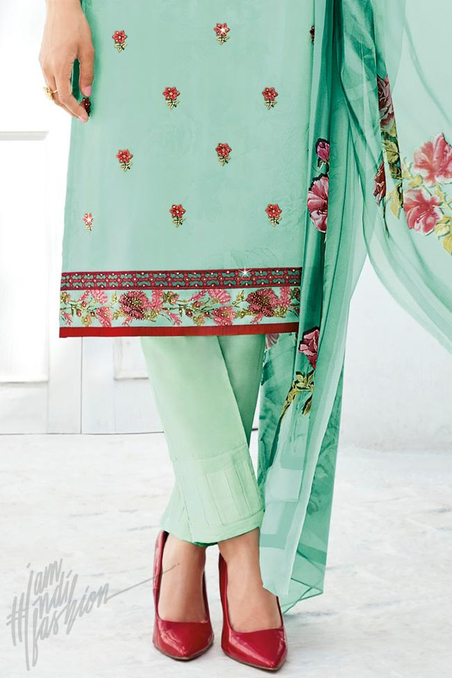 Indi Fashion Sea Green Shaded Cotton Silk Straight Suit