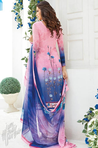 Buy Pink and Purple Shaded Cotton Silk Straight Suit Online at indi.fashion