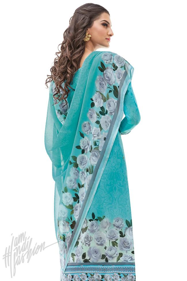 Indi Fashion Sky Blue Cotton Silk Straight Suit