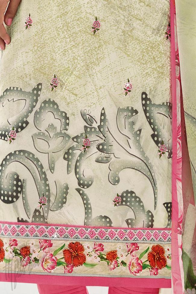 Indi Fashion Light Green and Magenta Cotton Silk Straight Suit