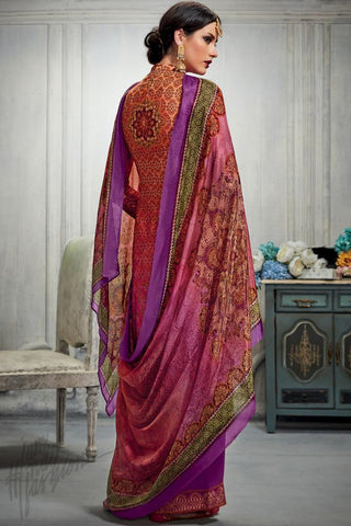 Indi Fashion Magenta and Purple Dual Tone Cotton Satin Printed Suit