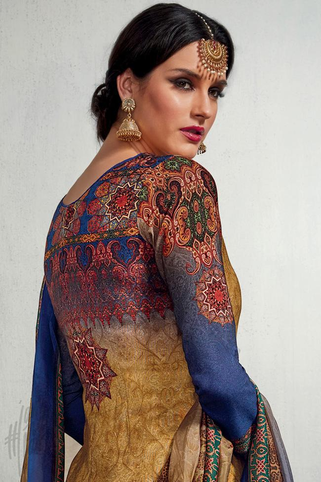 Indi Fashion Beige and Blue Dual Tone Cotton Satin Printed Suit