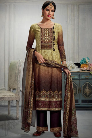 Indi Fashion Green and Brown Dual Tone Cotton Satin Printed Suit