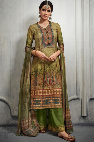 Indi Fashion Green Dual Tone Cotton Satin Printed Suit