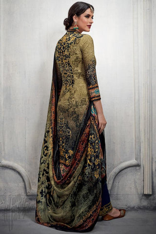 Indi Fashion Green and Blue Dual Tone Cotton Satin Printed Suit