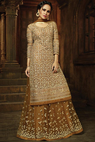 Indi Fashion Brown and Beige Net Jacket Style Lehenga