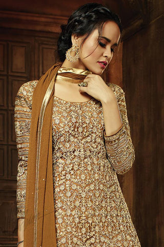 Indi Fashion Brown and Beige Party Wear Straight Suit