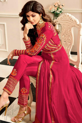 Indi Fashion Red Georgette Floor Length Party Wear Suit