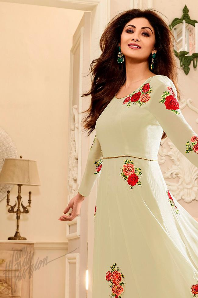 Indi Fashion Off White Georgette Floor Length Party Wear Suit