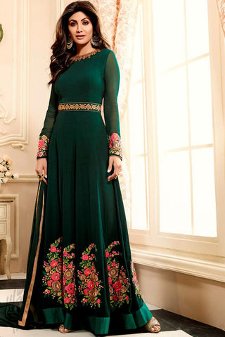 Indi Fashion Green Georgette Floor Length Party Wear Suit