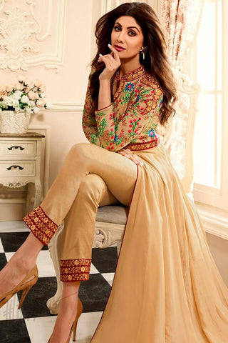 Indi Fashion Beige Georgette Floor Length Party Wear Suit