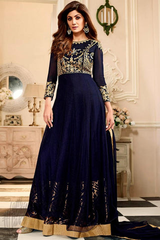 Indi Fashion Navy Blue Net Floor Length Party Wear Suit