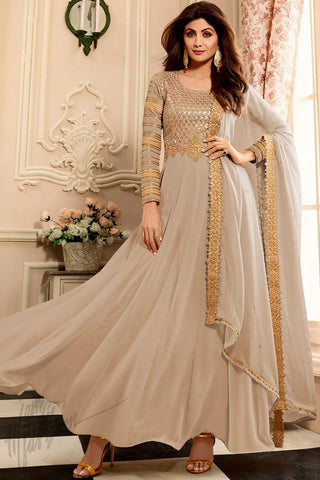 Buy Light Gray Georgette Floor Length Party Wear Suit Online at indi.fashion