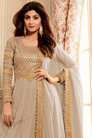 Indi Fashion Light Gray Georgette Floor Length Party Wear Suit