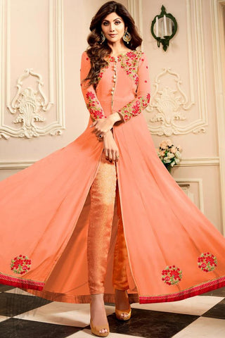Indi Fashion Peach Georgette Floor Length Party Wear Suit