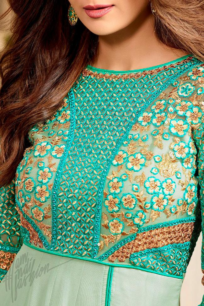 Indi Fashion Sea Green Georgette Floor Length Party Wear Suit