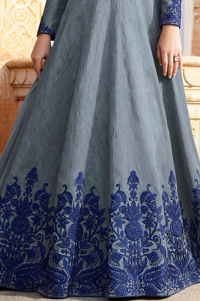Indi Fashion Gray and Blue Silk Party Wear Floor Length Suit