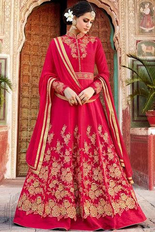 Indi Fashion Red Silk and Net Party Wear Floor Length Suit