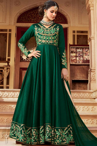 Indi Fashion Green Silk Party Wear Floor Length Suit