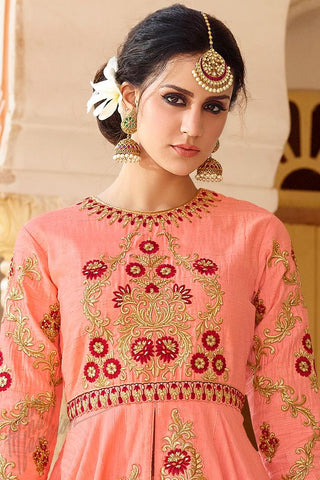 Indi Fashion Peach and Beige Silk Party Wear Floor Length Suit