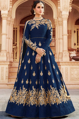 Indi Fashion Blue Silk Party Wear Floor Length Suit