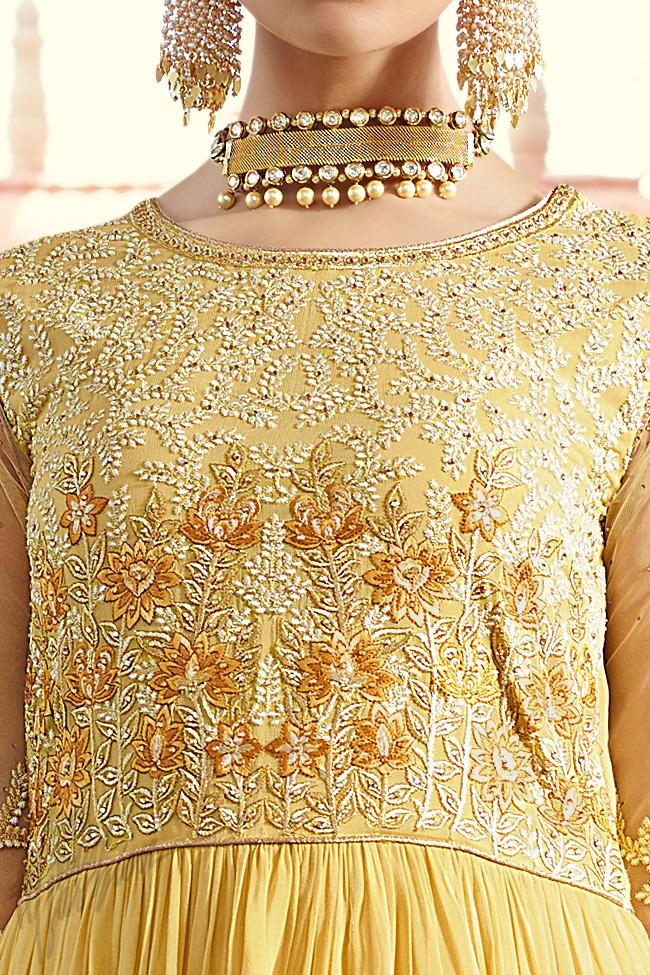 Indi Fashion Yellow Layered Royal Georgette Party Wear Anarkali Suit