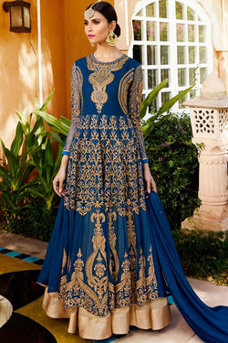 Indi Fashion Blue Royal Georgette Party Wear Anarkali Suit With Ghaghara