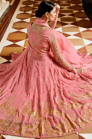 Indi Fashion Pink Royal Georgette Party Wear Anarkali Suit With Ghaghara
