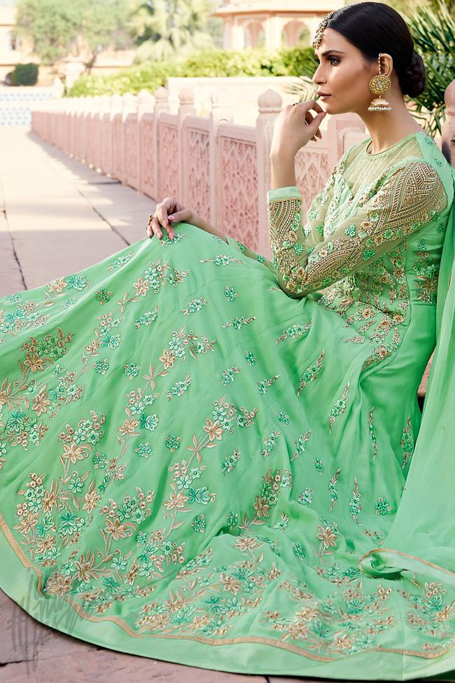 Indi Fashion Sea Green Royal Georgette Party Wear Anarkali Suit