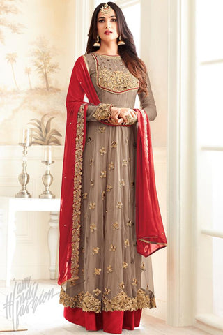 Indi Fashion Brown Net Floor Length Party Wear Suit