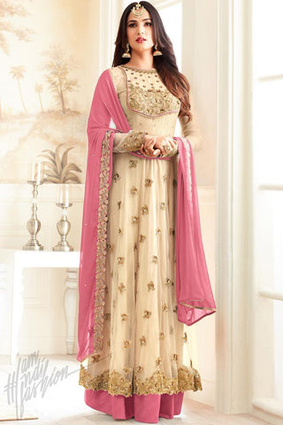 Buy Cream Net Floor Length Party Wear Suit Online at indi.fashion