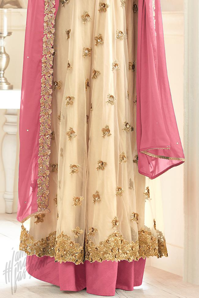 Indi Fashion Cream Net Floor Length Party Wear Suit