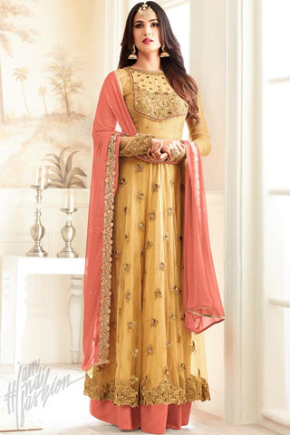 Indi Fashion Yellow Net Floor Length Party Wear Suit