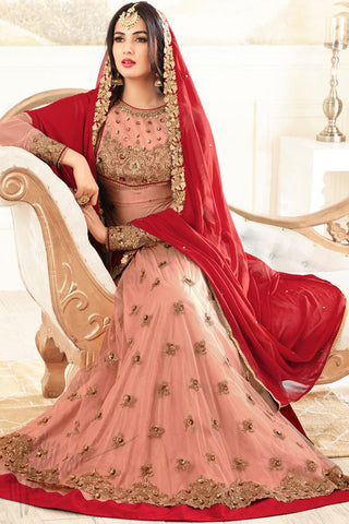 Indi Fashion Pink Net Floor Length Party Wear Suit