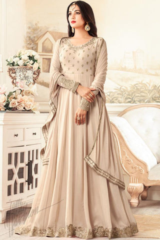 Indi Fashion Light Coffee Georgette Floor Length Party Wear Suit