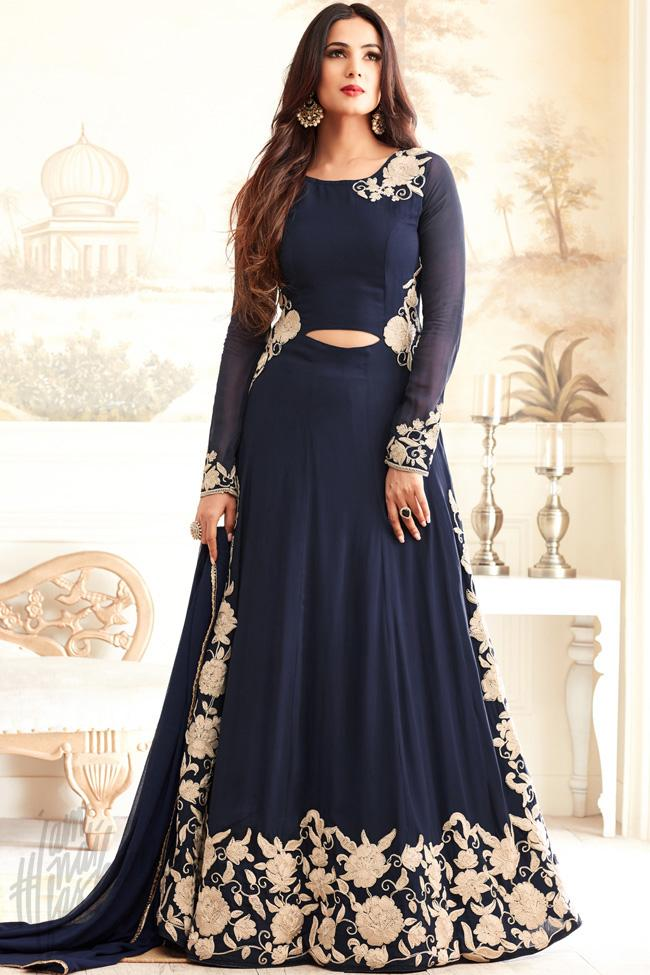 Indi Fashion Navy Blue Georgette Floor Length Party Wear Suit
