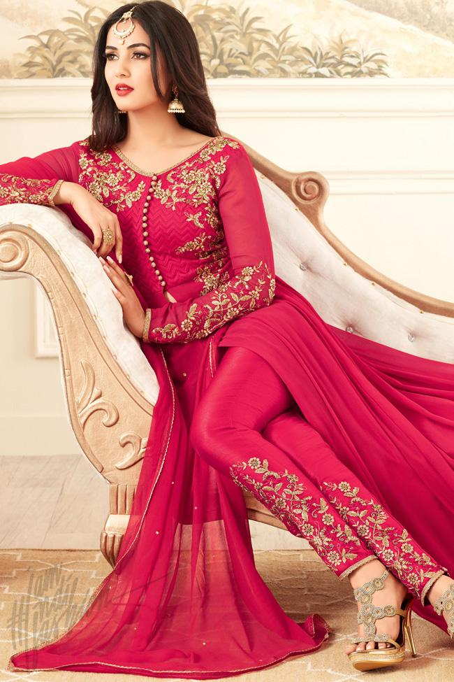 Indi Fashion Pink Georgette Floor Length Party Wear Suit