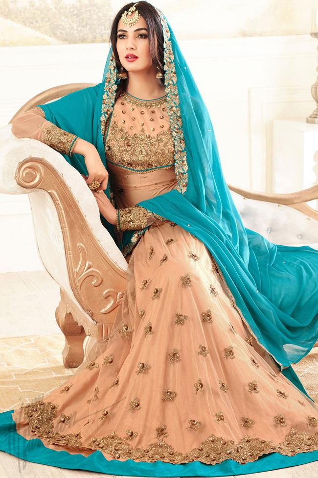Indi Fashion Light Peach Net Floor Length Party Wear Suit