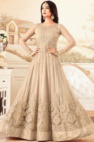 Indi Fashion Light Beige Net Floor Length Party Wear Suit