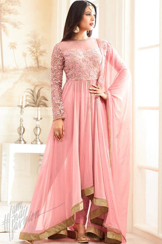 Indi Fashion Light Pink Asymmetrical Georgette Floor Length Party Wear Suit