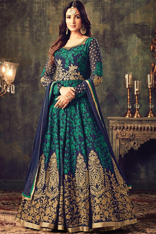 Buy Blue Green and Gold Georgette Floor Length Party Wear Suit Online at indi.fashion