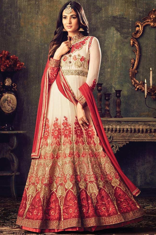 Indi Fashion White Red and Gold Georgette Floor Length Party Wear Suit