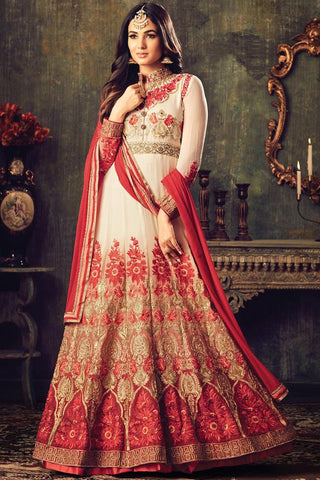 Buy White Red and Gold Georgette Floor Length Party Wear Suit Online at indi.fashion