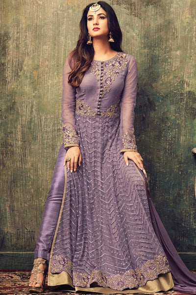 Buy Light Purple Net Ankle Length Party Wear Suit Online at indi.fashion