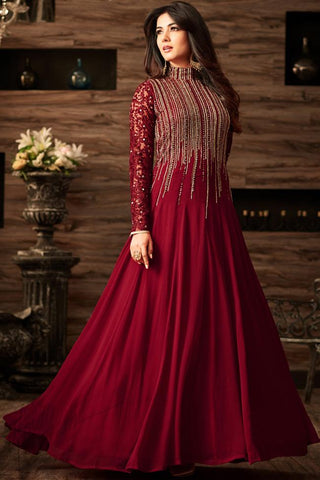 Indi Fashion Maroon Net Floor Length Party Wear Suit