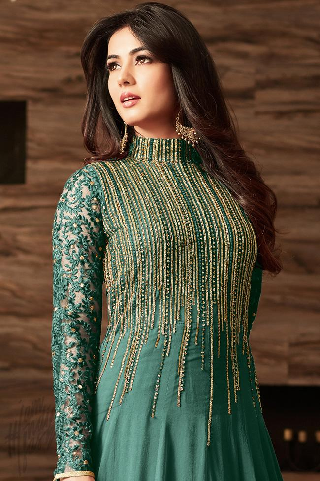 Indi Fashion Green Net Floor Length Party Wear Suit