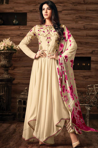 Indi Fashion Cream Georgette Asymmetrical Party Wear Suit