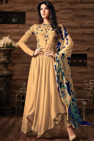 Indi Fashion Brown Georgette Asymmetrical Party Wear Suit
