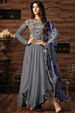 Indi Fashion Gray Georgette Asymmetrical Party Wear Suit