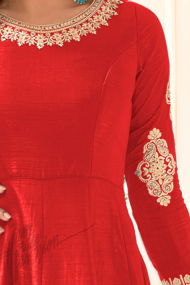Indi Fashion Red Banarasi Silk Party Wear Jacket Style Suit